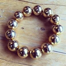 P.X41.O Pulseira esferas de 15mm metais banhados a ouro