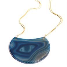 EPS.184.A Colar pedra Meia Lua Ágata azul com metais banhados a ouro