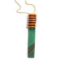 EPS279.1V Colar longo filetão de pedra Agata verde, argolas de madeira certificada e metais banhados a ouro