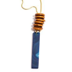 EPS279.1A Colar longo filetão de pedra Agata azul, argolas de madeira certificada e metais banhados a ouro