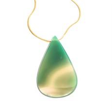 EPS.B1.V Colar curto gota 1 furo pedra Ágata verde e metais banhados a ouro