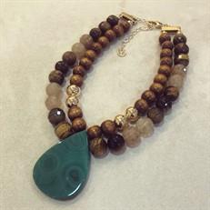 F16.C2.O (verde) Colar pedras Olho de Tigre, Quartzo Rutilo e Ágata com metais banhados a ouro