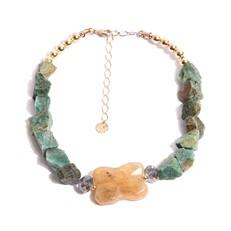 TR.C11 - Colar luxo pedras Jade Esmeralda rusticas, Quartzo Rutilo e metais banhados a ouro