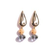 TR.B11 - Brinco curto/medio Quartzo rutilo e cristais com metais banhados a ouro