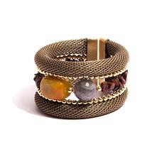 TR.BCT15 - Bracelete pedras jade mostarda, Labradoritas, Obsidiana marrom em cascalho e metais banhados a ouro