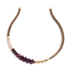 TR.T4 - Tiara cristais, pedra Zionita vermelha e metais banhados a ouro
