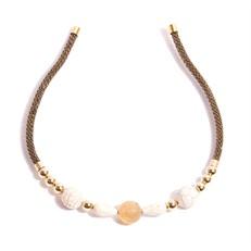 TR.T3 - Tiara pedras howlita e Quartzo Rutilo com metais banhados a ouro