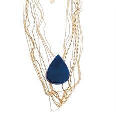 EPM.A15O Maxi colar com mixe de correntes folheadas a ouro e Pedra Natural Ágata azul.