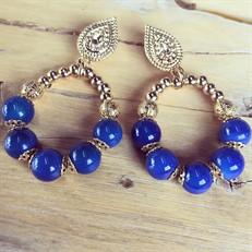 B.X50 (azul) Brinco com pedras naturais Ágata azul e metais banhado a ouro