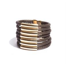 BCTD.9.1 (ouro velho) Bracelete malha de aluminio ouro velho e metais banhados a ouro