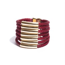 BCTD.9 (vermelho) Bracelete malha de aluminio vermelho e metais banhados a ouro