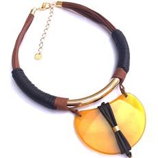 CP.C17.AA Colar couro ecologico, pedra Agata amarela e metais banhados a ouro