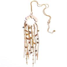 C8.INV.1 C8 Colar longo estilo boho com pedras Howlitas e pedrolas naturais com metais banhados a ouro