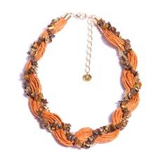 C1.AGO.1X Colar trança pedras Olho de Tigre em cascalho e fibras naturais laranja com metais banhados a ouro