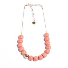 SB.C1.RS Colar esferas de pedra Sabão rosa com metais banhados a ouro