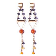 BL.11 Brinco longo cristais azuis e laranja, Ágata briollet, folheados a ouro.