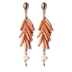 B2.BAMBU Brinco canutilhos de bambu laranja com cristais vinho e metais folheados a ouro.