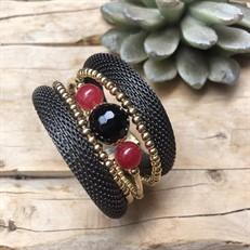 BCTD.6 Bracelet malha chumbbo, pedras Onix e Jade Rubi com metais banhados a ouro