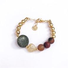 P.X150 Pulseira pedras Jaspe verde, Agata, Quartzo rutilo e metais banhados a ouro