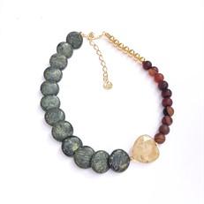 C.X150 Colar curto pedra Jaspe verde, pedra Ágata, pedra Quartzo Rutilo e metais banhados a ouro