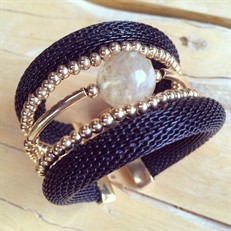 BCT.D6 (preto) Bracelete malha de aluminio, Pedra Natural Quartzo Rutilo e metais banhados a ouro