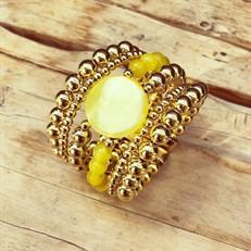 BCT.X127 Bracelete pedras Ágata e metais banhadas a ouro