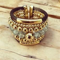 BCT.X126 Bracelete esferas de murano e metais banhados a ouro