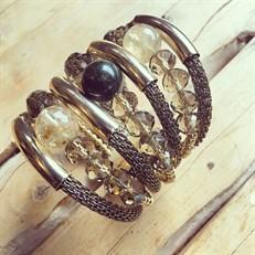 F16.BCT10 (JASPE VERDE) Bracelete pedra Jaspe Verde, Quartzo Rutilo, Cristal e metais banhados a ouro