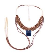 CP.C10 (OPÇÕES DE CORES) Colar trança couro e metais banhados a ouro e pedra Ágata