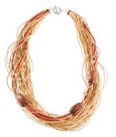 LR.C11 Colar fibras naturais, canutilhos de madeira, esferas de metal com strass.