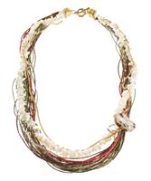 LR.C18 olar de fios de palha de arroz, cascalho de madrepérola e pedra natural Jasper Cinza.