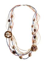 BN.C30 Colar de fios de Sisal, sementes de Patuá, sementes de Jatobá, placa de semente de Babaçu, flor de palha de bananeira, fios de Fibra de Buriti.