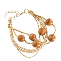 LR.P03 Pulseira fibras naturais (buriti), esferas de madeira e metais banhados a ouro