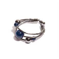 EPP.3.A.G Pulseira bracelete pedras Ágata azul e metais banhados a grafite