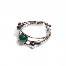 EPP.3.V.G Pulseira bracelete pedras Ágata verde e metais banhados a grafite