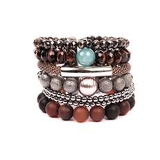 SP.BCT7 Bracelete sereismo Pedra Agata fosca, pedra Jade Amazonita, Pedra Olho de Tigre vermelho, Cristais e metais banhados a grafite