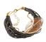 LR.P01 Pulseira fibras naturais, Pedra natural Quartzo Rutilo e metais banhados a ouro
