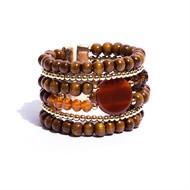 BCT.J03.M Bracelete Pedra Ágata, Cristais, contas de Madeira Certificada e metais banhadas a ouro