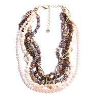 C.J01 Colar maxi Pedras Olho de Tigre, Rodonita, e Madrepéolas em cascalho, Pérolas naturais, Cristais e metais banhaos a ouro