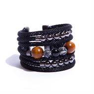 BCT.M6 Bracelete madeira, malha , pedra Agata preta e metais grafite