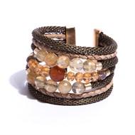 O16.BCT3 Bracelete qtzo rutilo, agata, cristais, couro e metais banhados a ouro