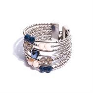 CT.BCT3 Bracelete cristais azuis, rosa e fume com metais banhados a paladio