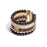 CT.BCT8 Bracelete cristais verdes musgo e off com metais banhados a ouro