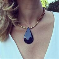 C.X96 Colar Gota de Pedra Ágata azul, contas de madeira e metais banhados a ouro