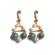 BM.B5 Brinco pedras jade verde, perolas, turquesa jade zion e metais banhados a ouro
