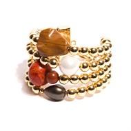 BM.BCT2 Bracelete pedras Coral, perola shell verde branca, Jaspe madeira, Jaspe vermelho e metais banhados a ouro