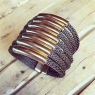 BCT.X117 (ouro velho) Bracelete malha de aluminio ouro velho e metais banhados a ouro