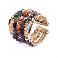 SP.BCT10 Bracelete luxo com pérolas de murano verde, Pedras Ágatas, Pedra Aventurina, Pedra Jaspe verde, cristais e metais banhados a ouro