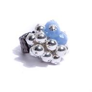 AT.A1 Anel esferas de metal banhadas a prata; cristais azuis e metais grafite