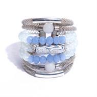 AT.BCT4 Bracelete cristais, pedra agata esponja, jade milk, cristais e metais banhados a prata e paladio